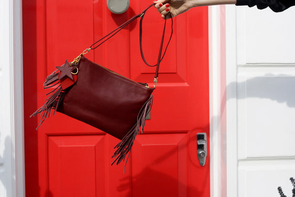 Fringed Cross Body Bag - Burgundy