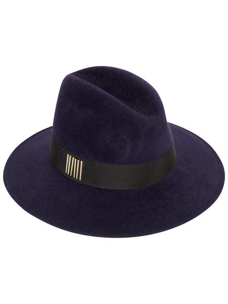 Navy Fedora with Black band and Gold beads