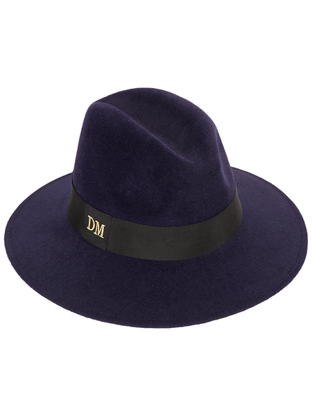 Navy Fedora with Black band and monogrammed initials