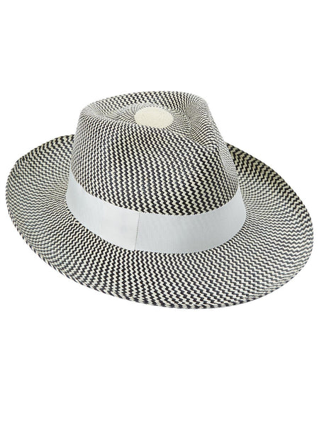 Black and natural Panama Trilby with Ivory band
