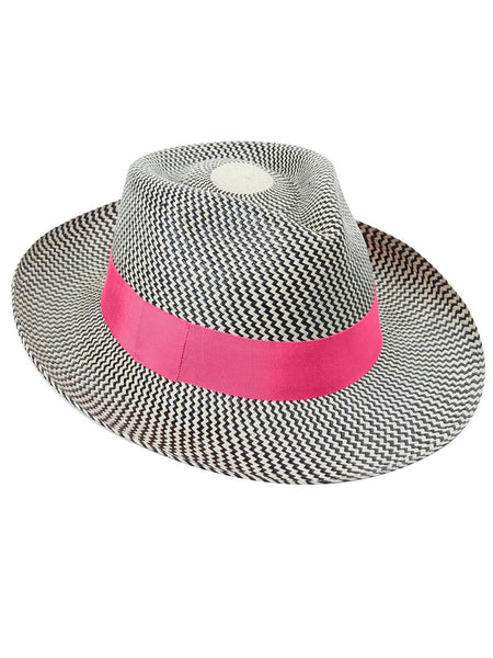 Black and natural Panama Trilby with pink band