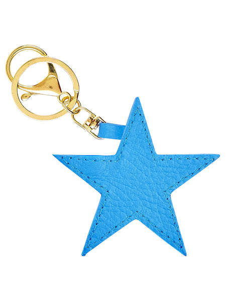 Leather Star Key Ring - Blue