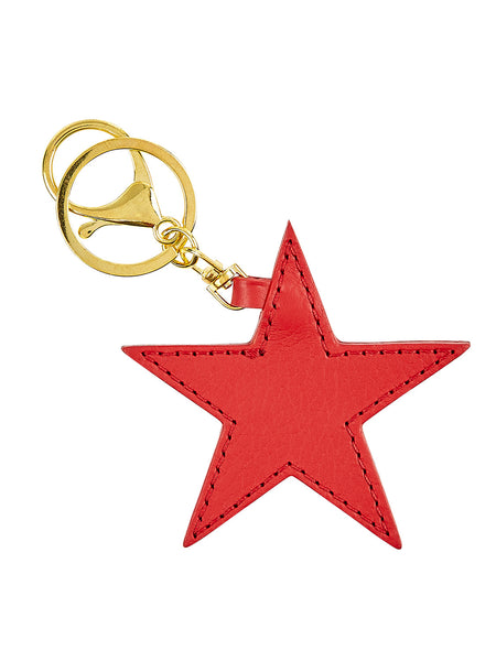Leather Star Key Ring - Red
