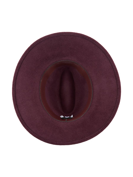 Wine Fedora with Burgundy band and Gold beads