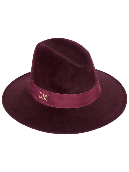 Wine Fedora with Burgundy band and monogrammed initials