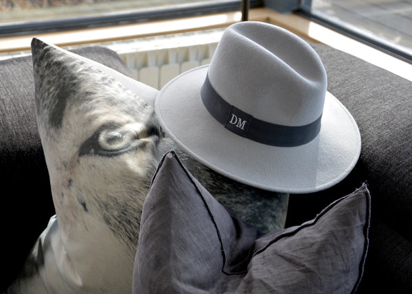 Grey Fedora with Dark Grey band and monogrammed initials