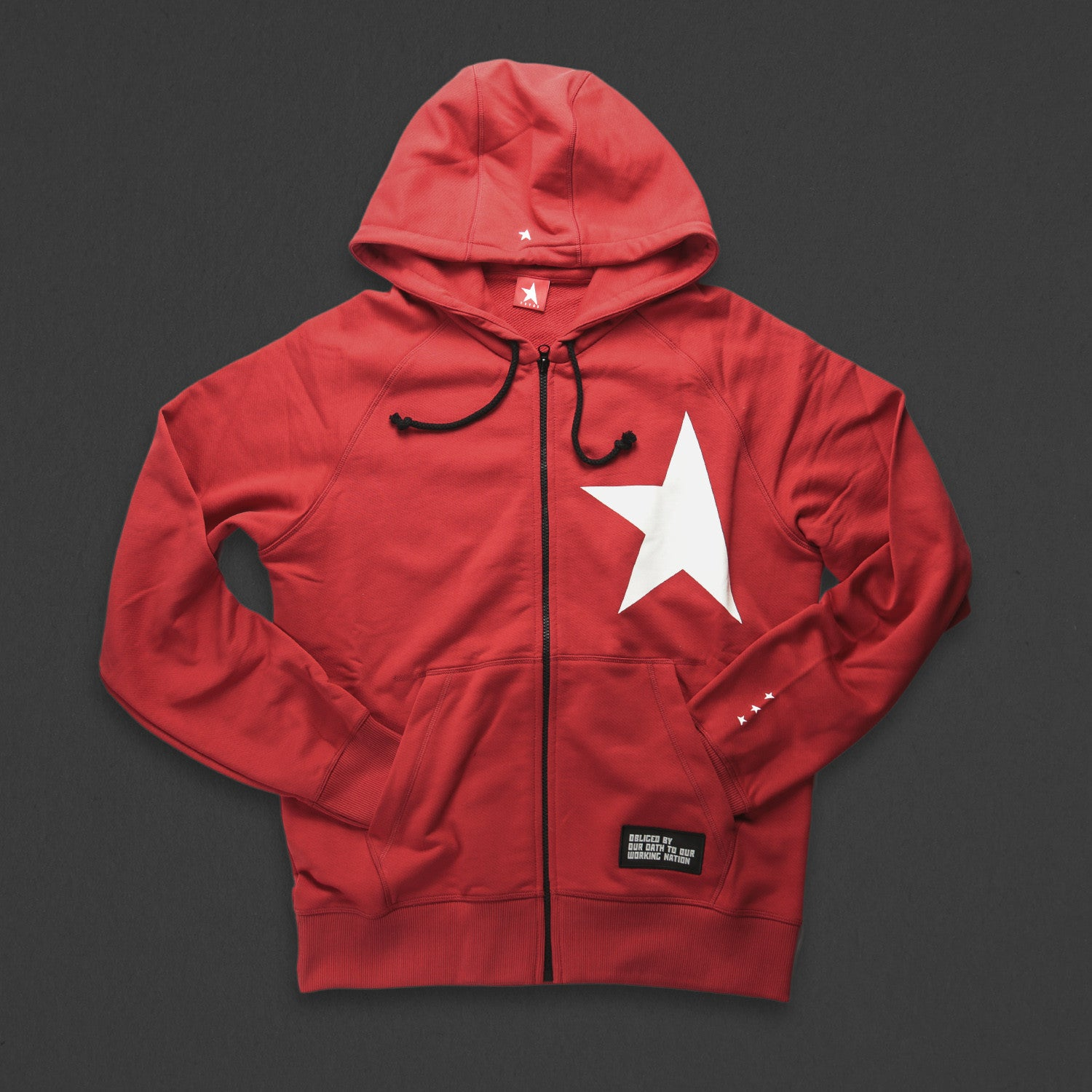 7th hoodie+zip red/white with TITOS star logo