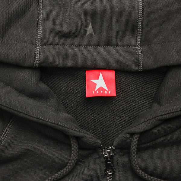 7th hoodie+zip black/black with TITOS star logo