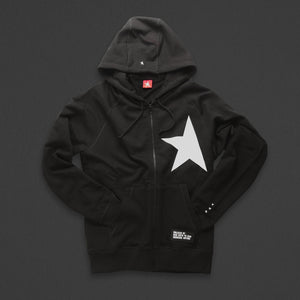 7th hoodie+zip black/white with TITOS star logo