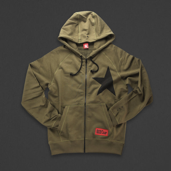 7th hoodie+zip olive/black with TITOS star logo