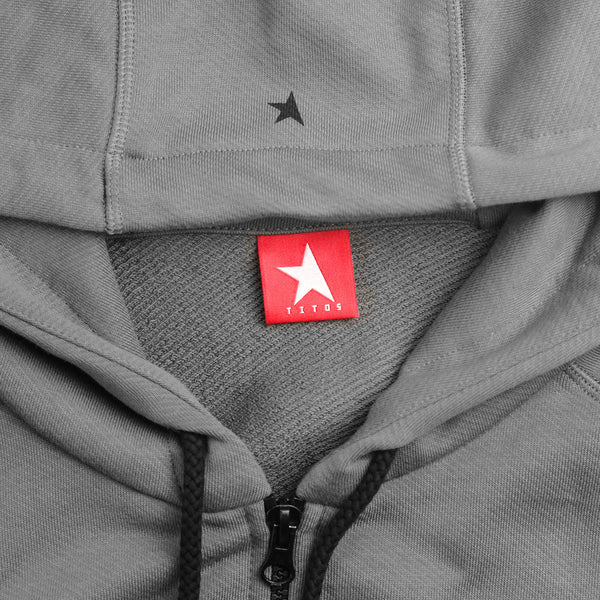 7th hoodie+zip pewter/black with TITOS star logo