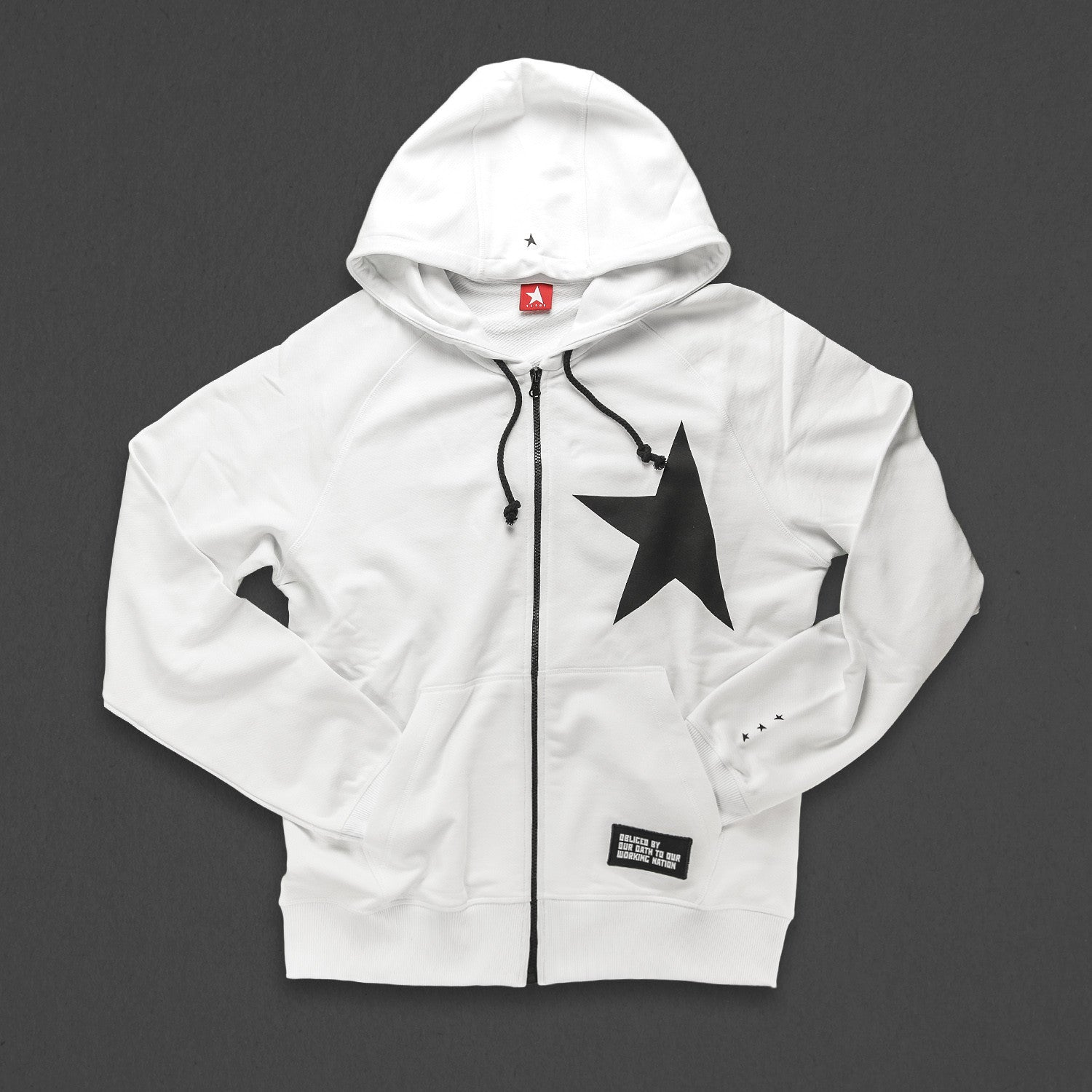 7th hoodie+zip white/black with TITOS star logo