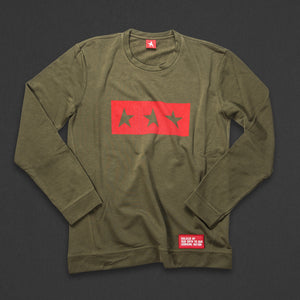 13th long sleeve TITOS T-shirt olive/red 3 star logo