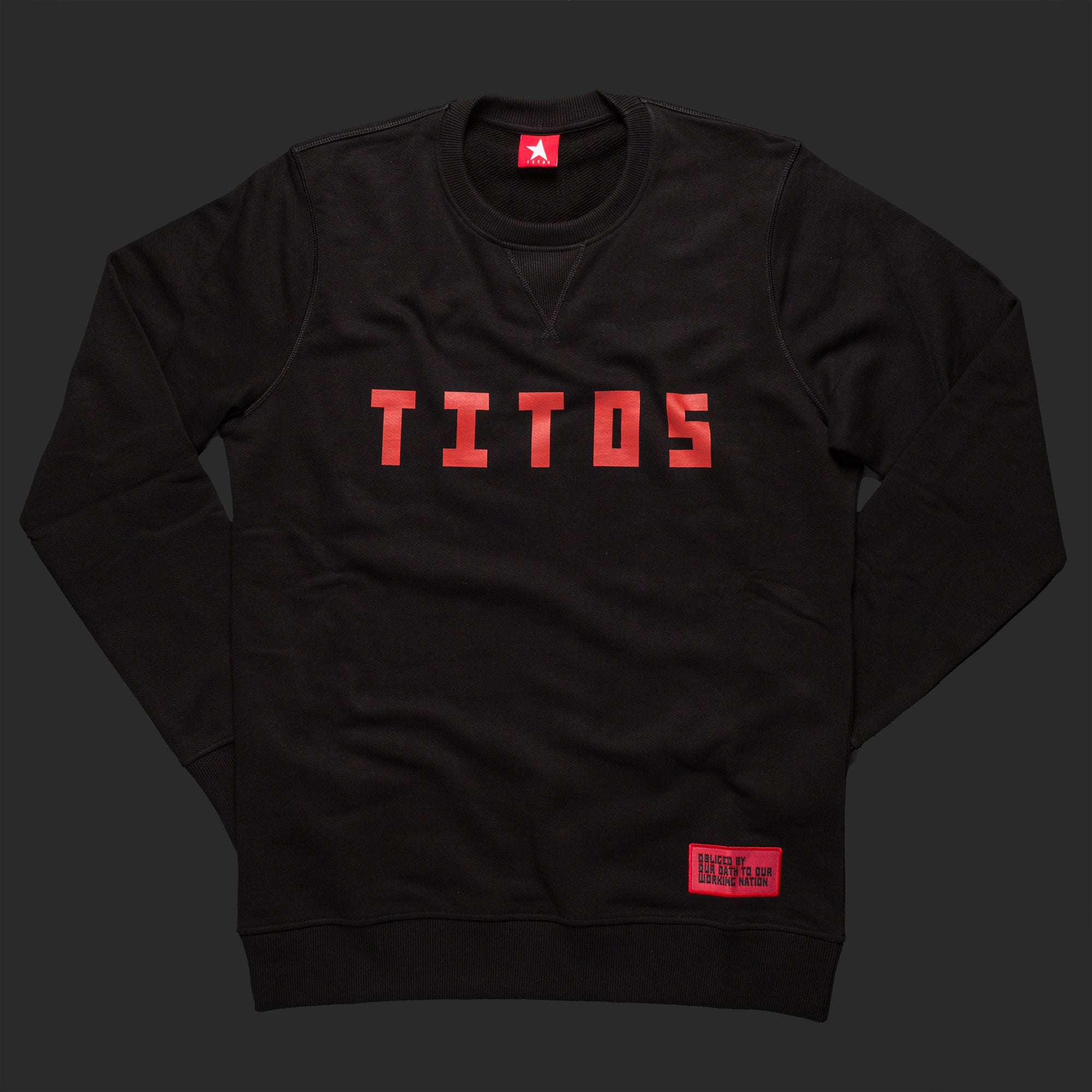 12th TITOS crewneck black/red letter chest logo