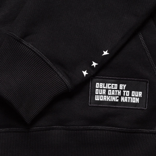 8th TITOS hoodie black/white with star + letters logo