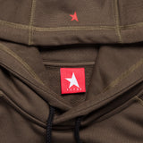 8th TITOS hoodie olive/red with star + letters logo