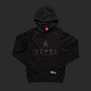 8th TITOS hoodie black/black with star + letters logo