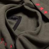 Fifth hoodie dark olive/red TITOS star logo