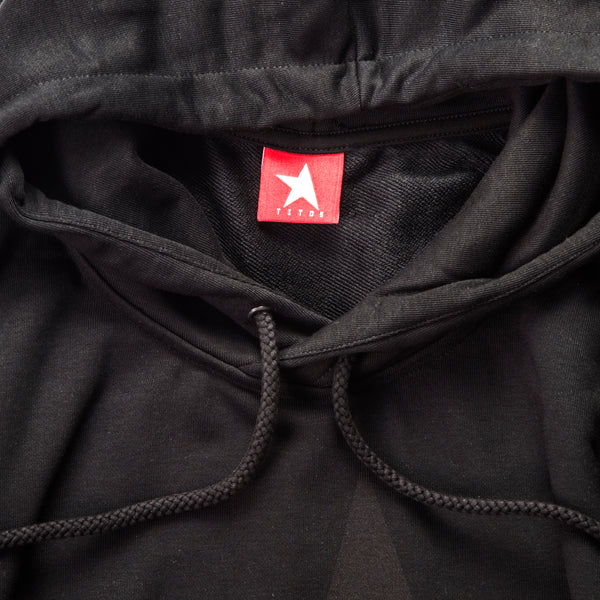 9th TITOS womens hoodie black/shiny black with large star