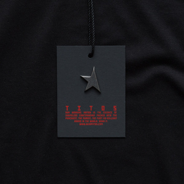 Fourth T-shirt black/red TITOS 3 star block logo