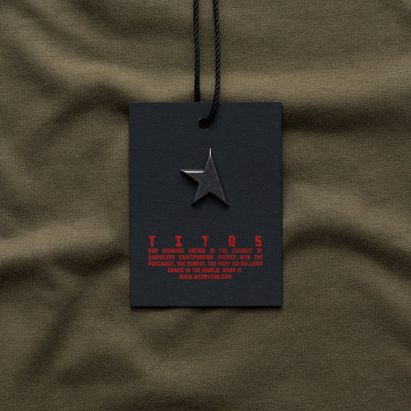 8th women's TITOS t-shirt olive/red small star logo