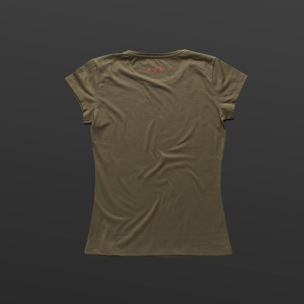 First women's T-shirt olive/red TITOS star logo