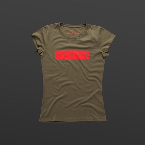Third women's T-shirt olive/red TITOS block logo
