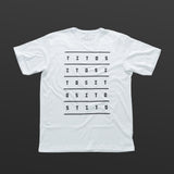 Second T-shirt white/black TITOS 5X5 letters