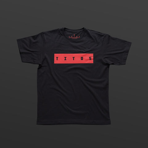 Third T-shirt black/red TITOS block logo