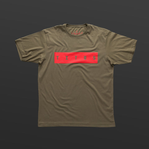 Third T-shirt olive/red TITOS block logo