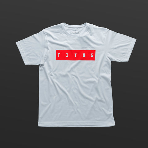 Third T-shirt white/red TITOS block logo