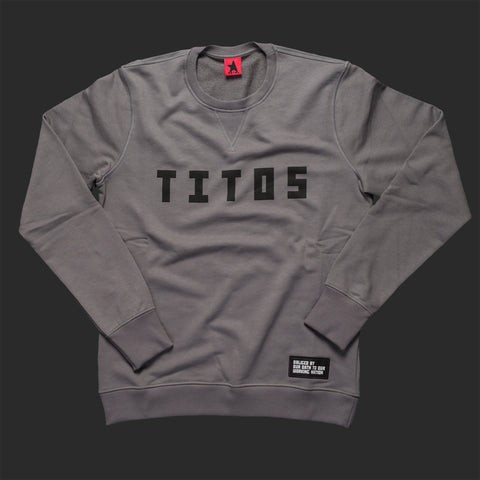 12th TITOS crewneck pwtr/blk letter chest logo