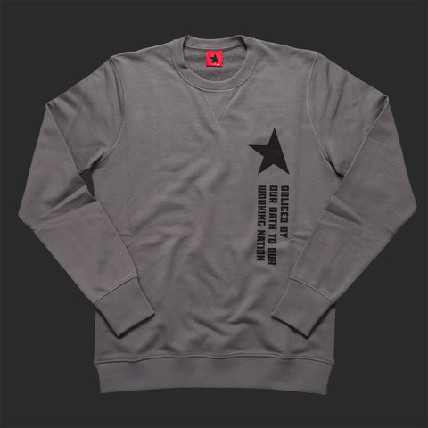 10th TITOS crewneck pwtr/blk working nation motto