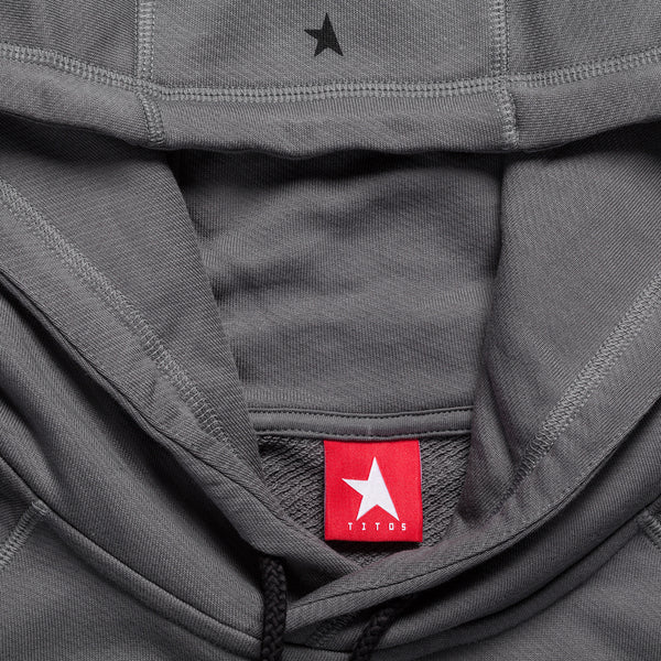 8th TITOS hoodie pewter/black with star + letters logo