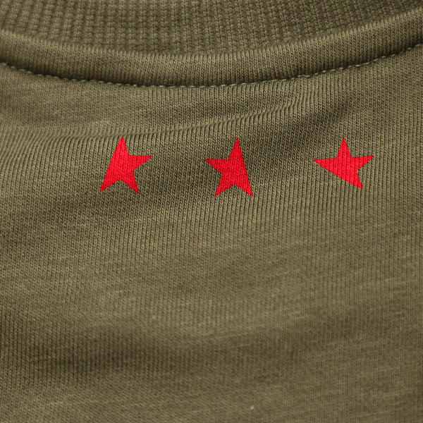 13th long sleeve Titos T-shirt olive/red 3 star logo back detail