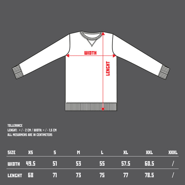 10th TITOS crewneck size chart