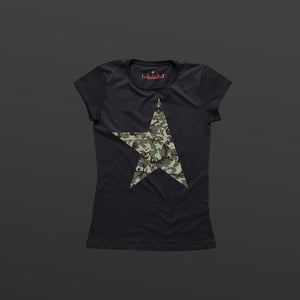 First women's T-shirt black/camo TITOS star logo