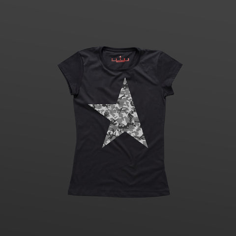 First women's T-shirt black/camo grey TITOS star logo