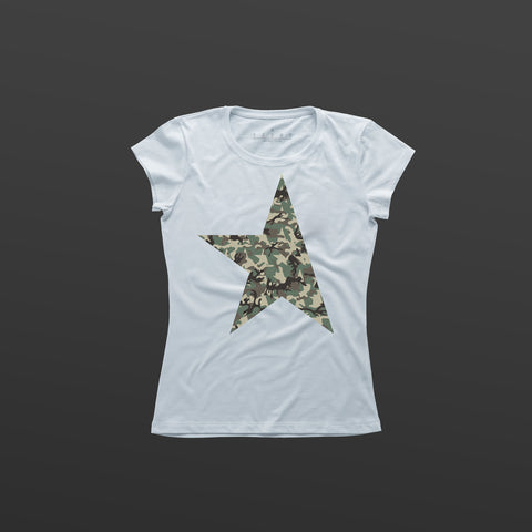 First women's T-shirt white/camo TITOS star logo