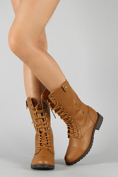 Plaid Cuff Lace Up Military Boot-Shoes, Booties-Topaze Fashion