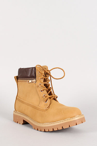 Zipper Accent Lace Up Work Boot