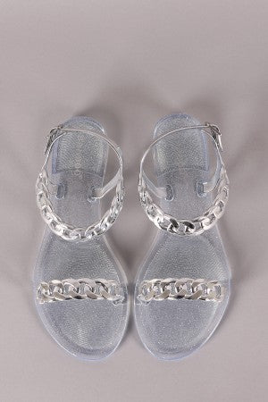 Bamboo Jelly Glitter Metallic Chain Flat Sandal-Shoes, Sandals-Topaze Fashion
