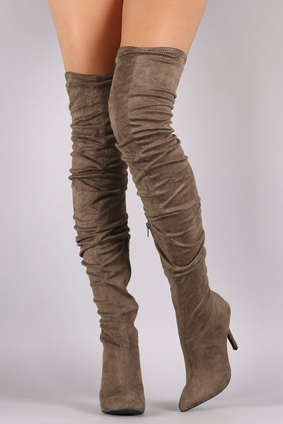 Women's Anne Michelle Suede Slouchy Pointy Toe Stiletto Boots-Topaze Fashion