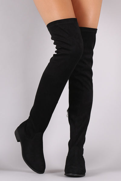 suede over the knee fitted boots topaze fashion