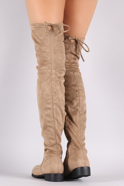 Suede Drawstring-Tie Block Heeled Riding Boots-Shoes, Boots-Topaze Fashion