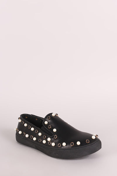 Liliana Faux Pearls Embellished Slip-On Sneaker-Shoes, Sneakers-Topaze Fashion