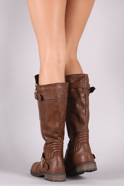 Zipper And Buckle Trim Riding Knee High Boots-Shoes, Boots-Topaze Fashion