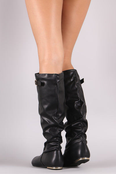 Buckle Slouchy Knee High Flat Boots-Shoes, Boots-Topaze Fashion
