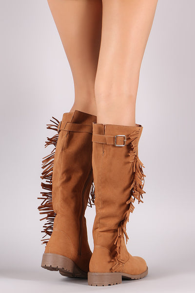 Suede Fringe Accent Riding Knee High Boots-Shoes, Boots-Topaze Fashion