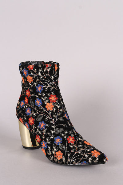 Embroidered Floral Banana Heeled Booties-Shoes, Booties-Topaze Fashion